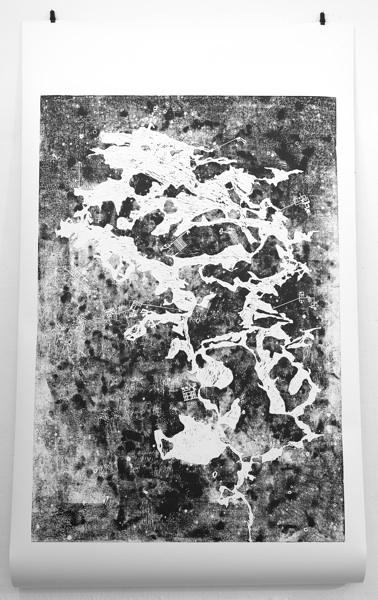 Höhle mit Bunkern, Holzschnitt auf Papier